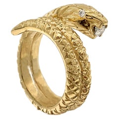 Coiled Mr. Snake Ring in 18 Karat Yellow Gold with Diamond Eyes and Snack