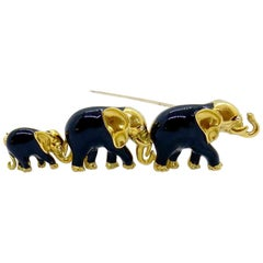 Coin Roberto 18 Karat Yellow Gold and Black Enamel 3 Elephants Brooch