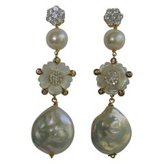Coin White Keshi Pearls Mother of  Pearls Cubic Zirconia 925 Sterling Earrings
