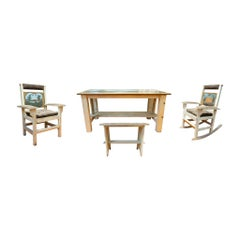 Col. Walters Dining Set with Painted Mountain Scene