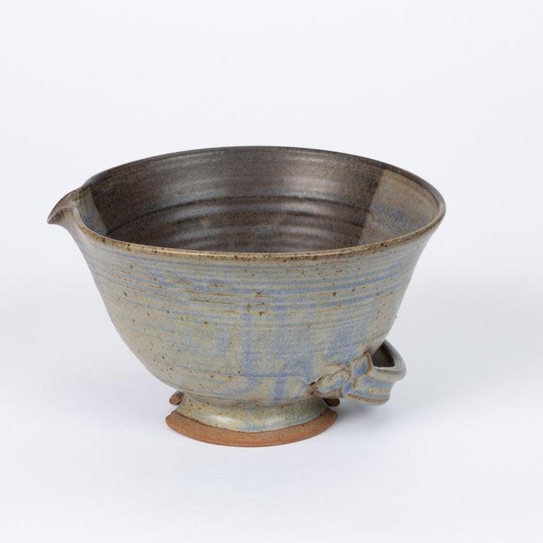 Glazed Colander Style Studio Pottery Bowl For Sale