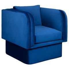 Cobalt Blue Velvet Occasional Chair with Down-Filled Cushion & Soft Back Pillow