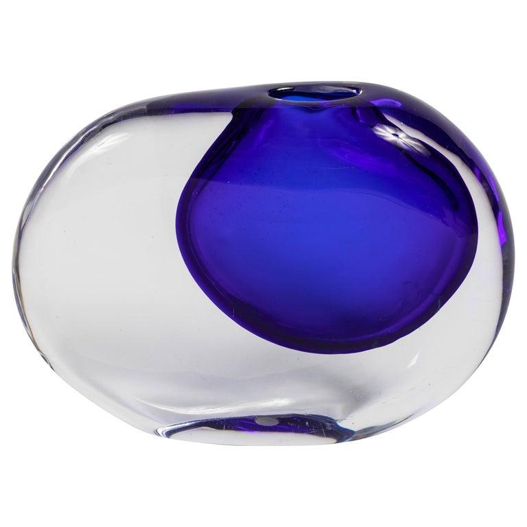 Colbalt Sasso Vase by Antonio da Ros for Cenedese For Sale