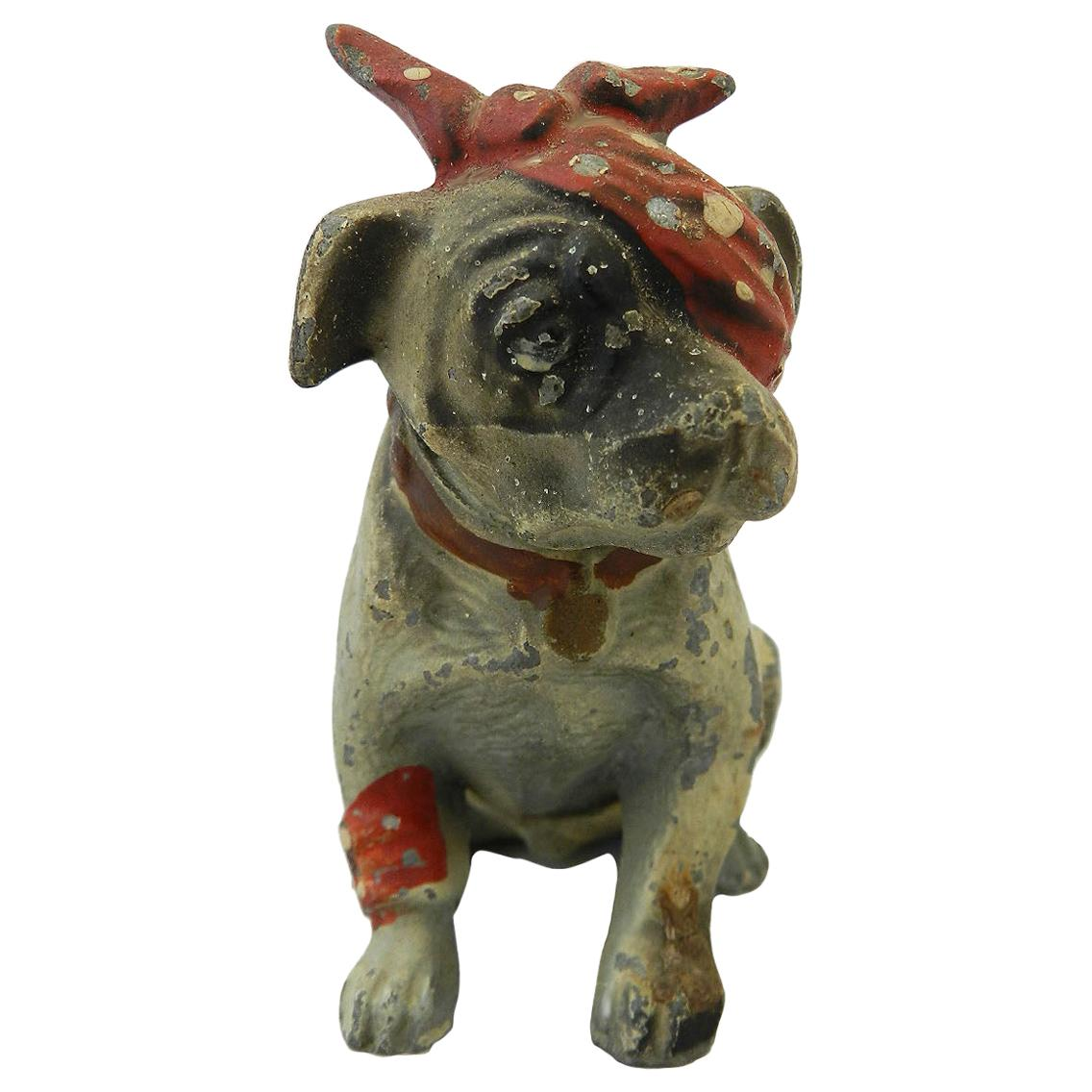 Austrian Cold Painted Metal  Dog Bull Terrier Puppy  early 20th Century