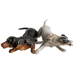 Cold Painted Bronze Dogs