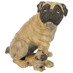 Cold-Painted Bronze Pug Dog & Puppy Sculpture from the Mario Buatta Collection