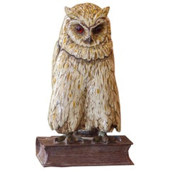 Cold Painted Bronze Sculpture of an Owl, Stamped 'BERGM', circa 1890