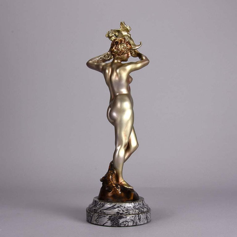 Cold-Painted Cold Painted French Art Deco Bronze 'Dragon Warrior' by Emmanuel Hannaux For Sale