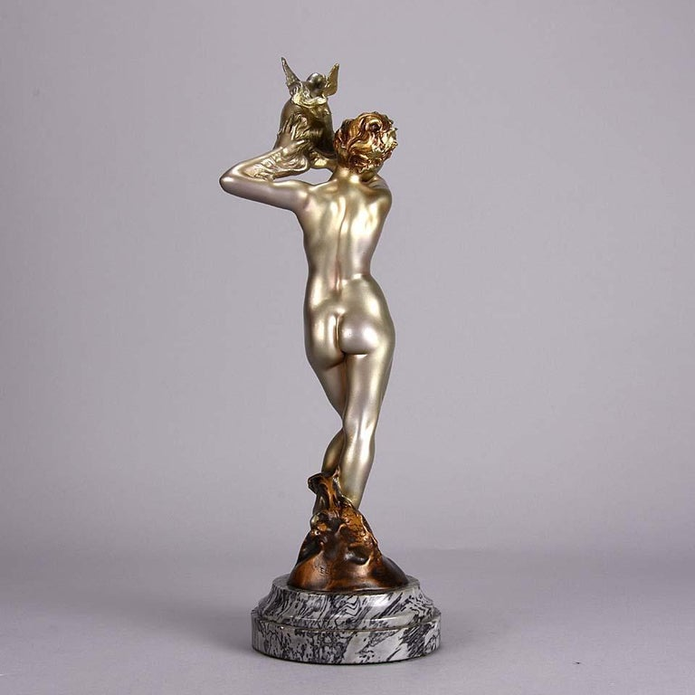 Cold Painted French Art Deco Bronze 'Dragon Warrior' by Emmanuel Hannaux In Excellent Condition For Sale In London, GB