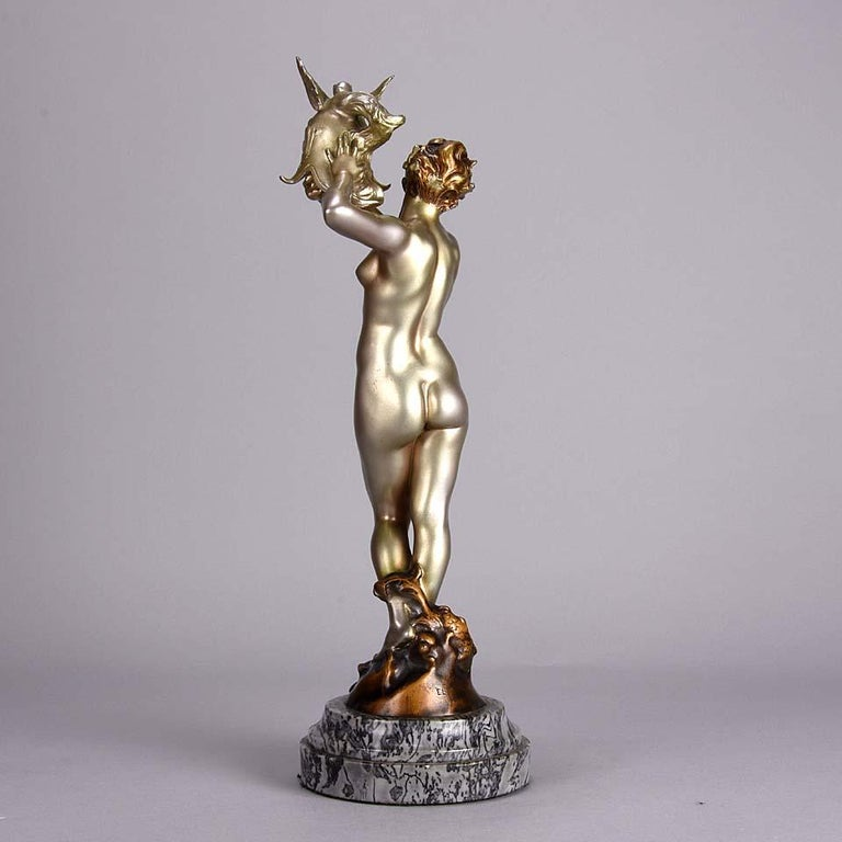 Early 20th Century Cold Painted French Art Deco Bronze 'Dragon Warrior' by Emmanuel Hannaux For Sale