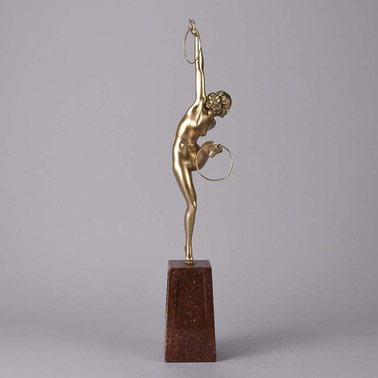 Cold-Painted Cold Painted French Art Deco Bronze Figure 'Hoop Dancer' by Georges Duvernet For Sale