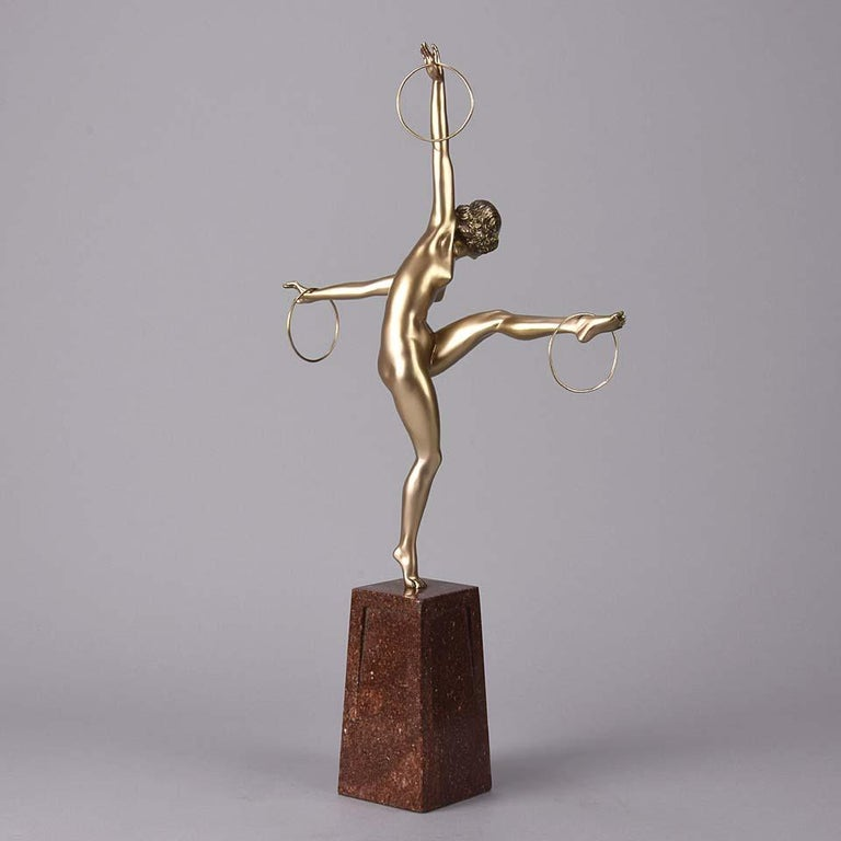 Cold Painted French Art Deco Bronze Figure 'Hoop Dancer' by Georges Duvernet In Excellent Condition For Sale In London, GB
