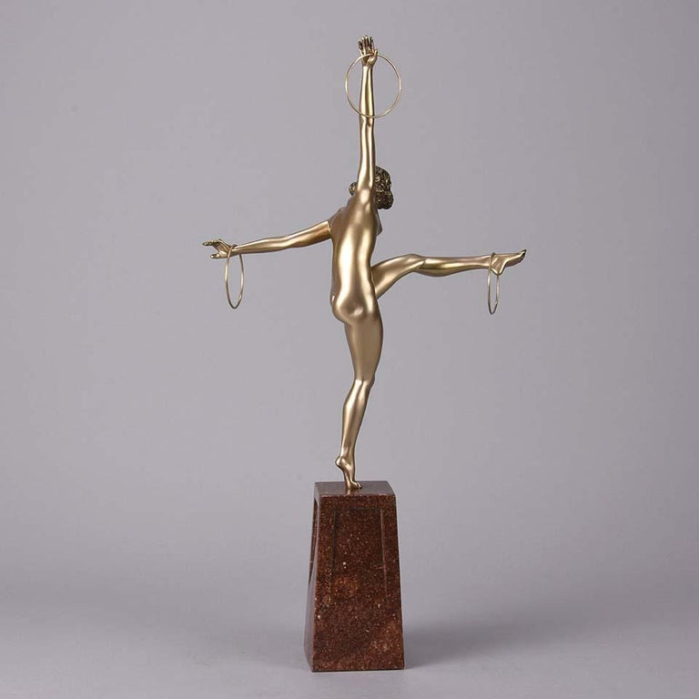 Early 20th Century Cold Painted French Art Deco Bronze Figure 'Hoop Dancer' by Georges Duvernet For Sale