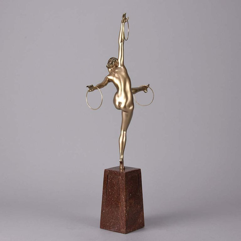 Cold Painted French Art Deco Bronze Figure 'Hoop Dancer' by Georges Duvernet For Sale 1