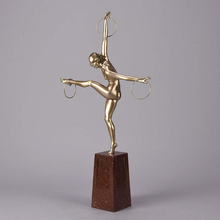 Cold Painted French Art Deco Bronze Figure 'Hoop Dancer' by Georges Duvernet For Sale 3