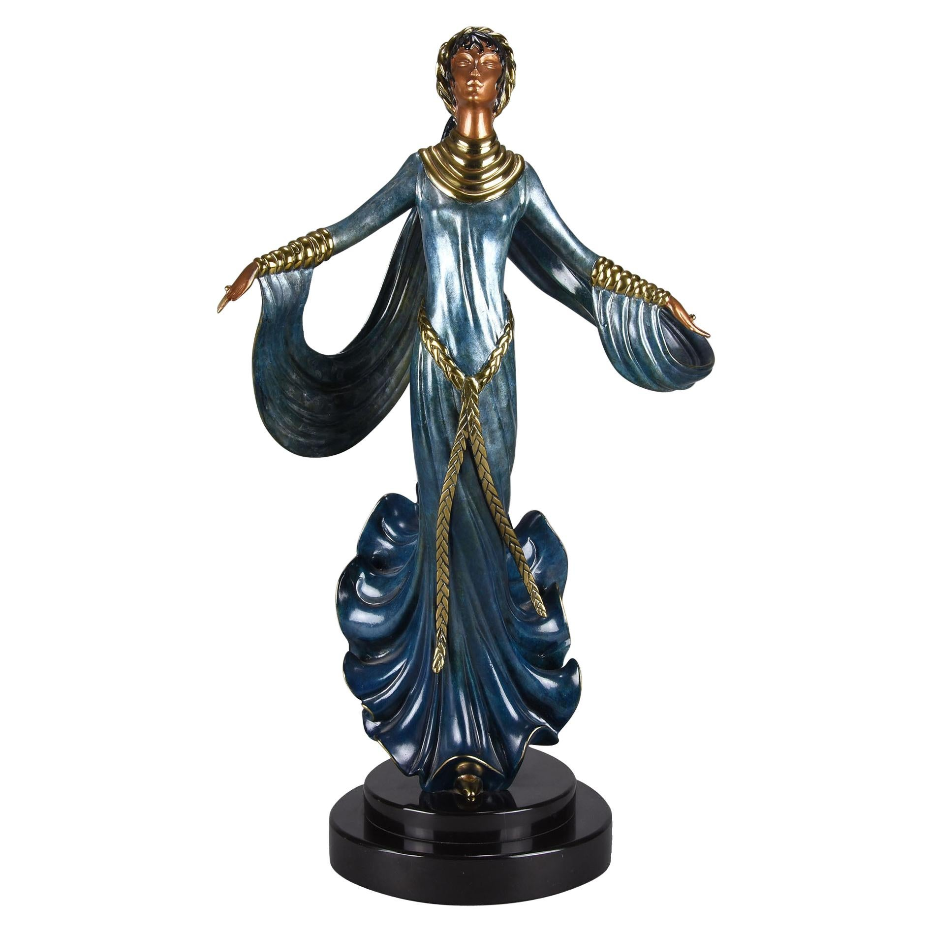 """Cold Painted Limited Edition Bronze Figure """"Ecstasy"""" by Erté"""