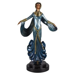 "Cold Painted Limited Edition Bronze Figure ""Ecstasy"" by Erté"