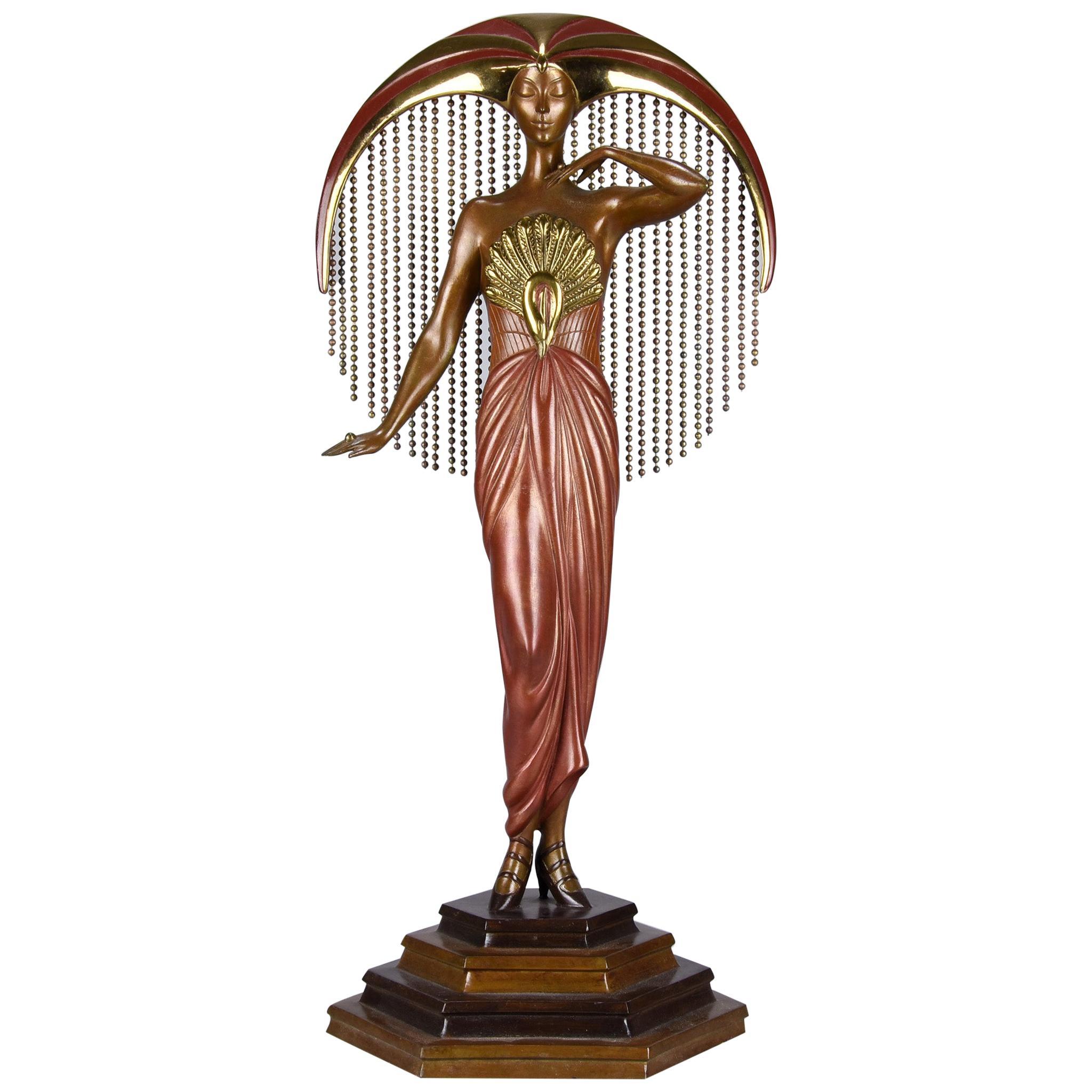 """Cold Painted Limited Edition Bronze Figure """"Le Soleil"""" by Erté"""