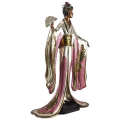 """Cold Painted Limited Edition Bronze Figure """"Madame Butterfly"""" by Erté"""