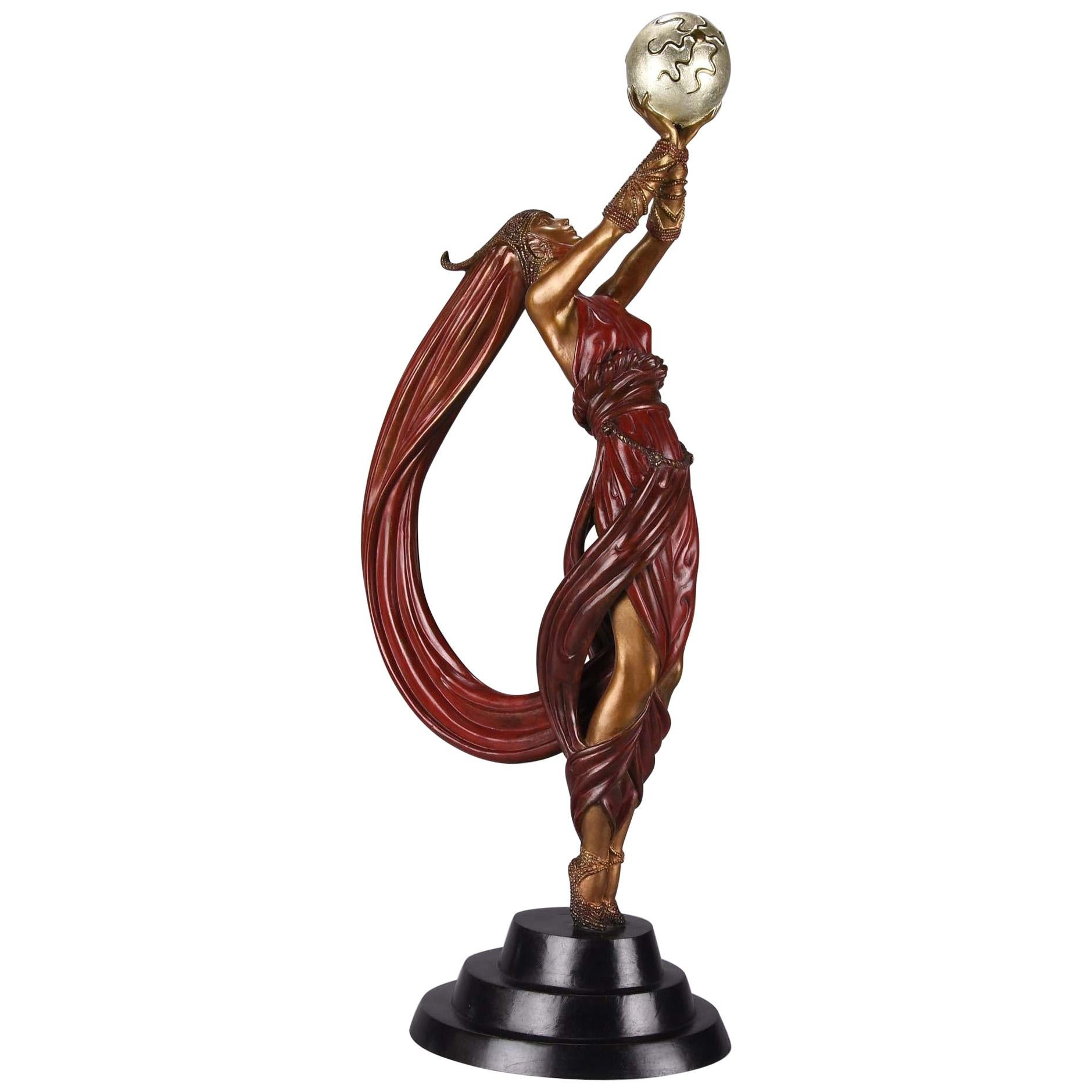 """Cold Painted Limited Edition Bronze Figure """"The Globe"""" by Erté"""