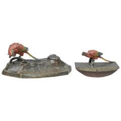Cold Painted Vienna Bronze 2-Piece Desk Set with Parrots, circa 1910