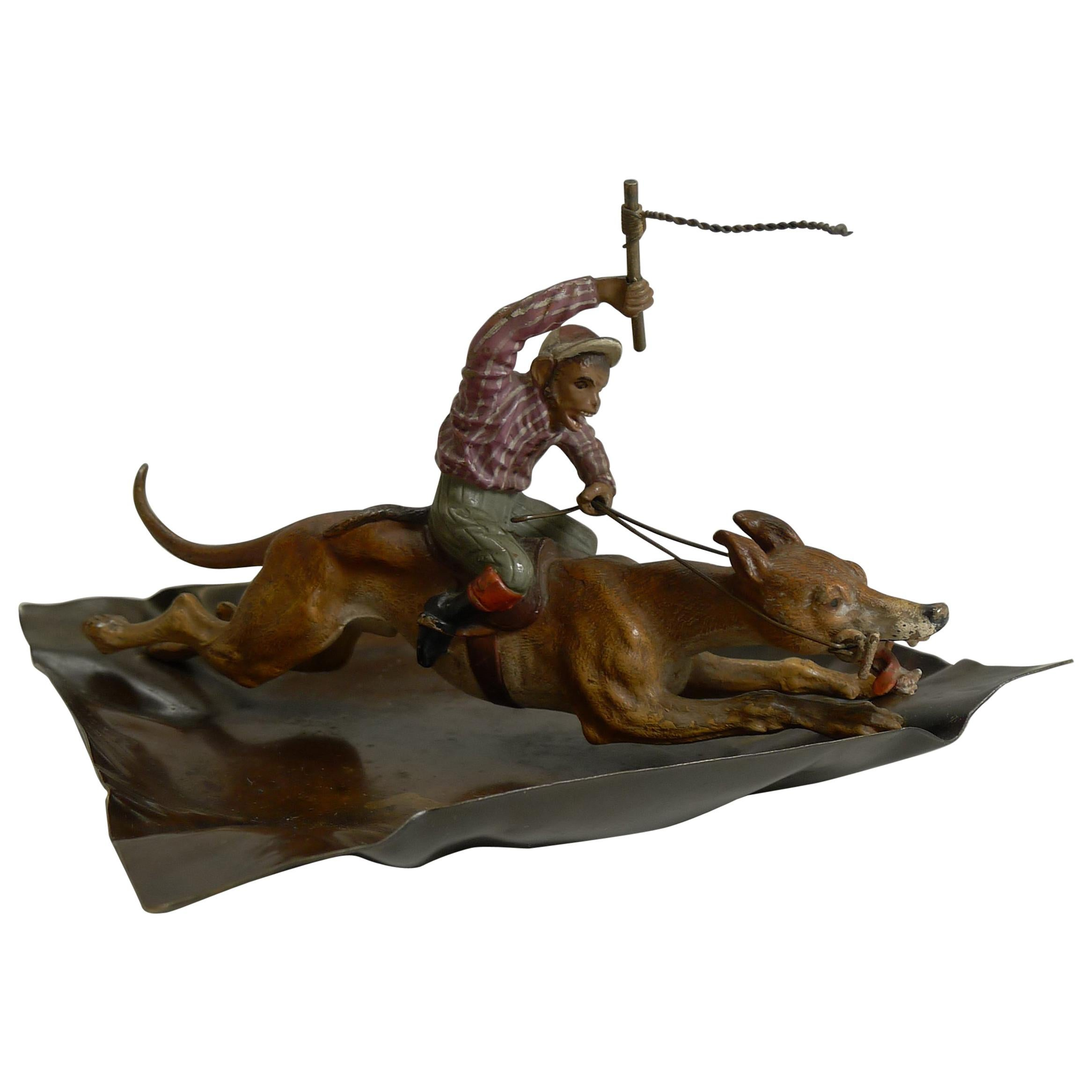 Cold Painted Vienna Bronze Dish, 'Monkey Racing a Greyhound,' circa 1900