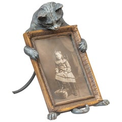 Cold Painted Vienna Bronze Figure of a Cat Holding a Picture Frame, circa 1910