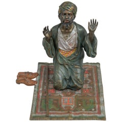 Cold Painted Vienna Bronze Orientalist Man on Prayer Rug, Bergmann Foundry