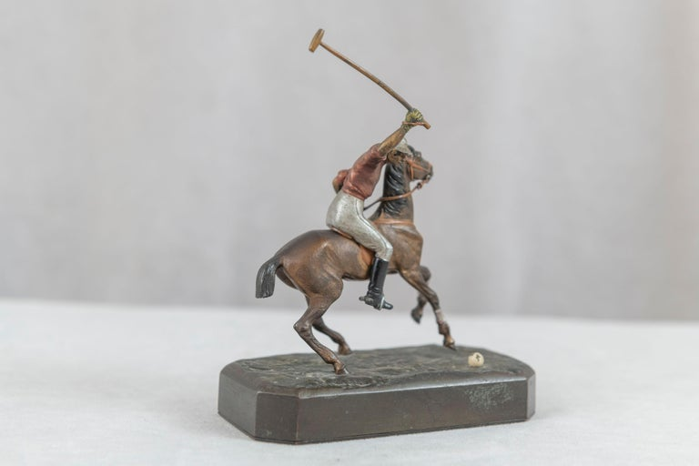 Cold-Painted Cold Painted Vienna Bronze Polo Player on Horseback, ca. 1910 For Sale