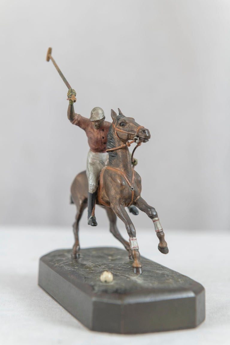 Cold Painted Vienna Bronze Polo Player on Horseback, ca. 1910 In Good Condition For Sale In Petaluma, CA