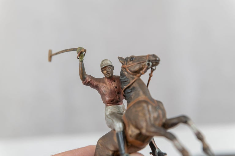 Cold Painted Vienna Bronze Polo Player on Horseback, ca. 1910 For Sale 1