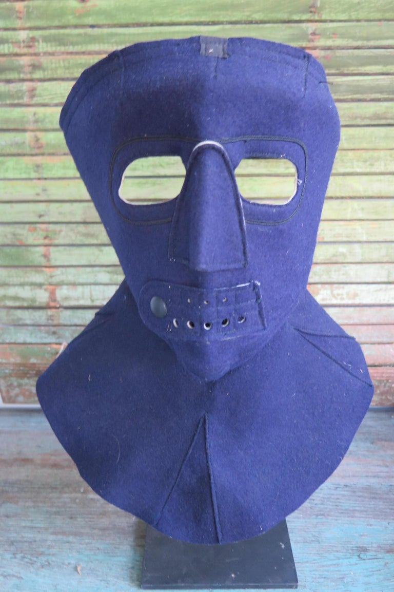 Machine Age Cold Weather Aviation Mask of Blue Cloth For Sale