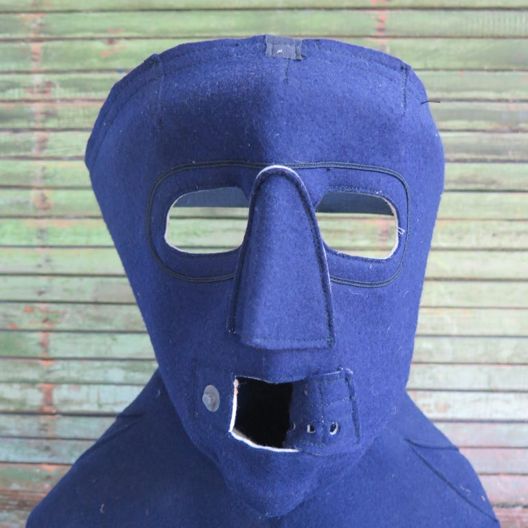 Cold Weather Aviation Mask of Blue Cloth In Good Condition For Sale In New York, NY
