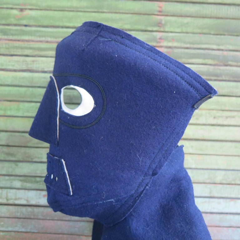 Fabric Cold Weather Aviation Mask of Blue Cloth For Sale
