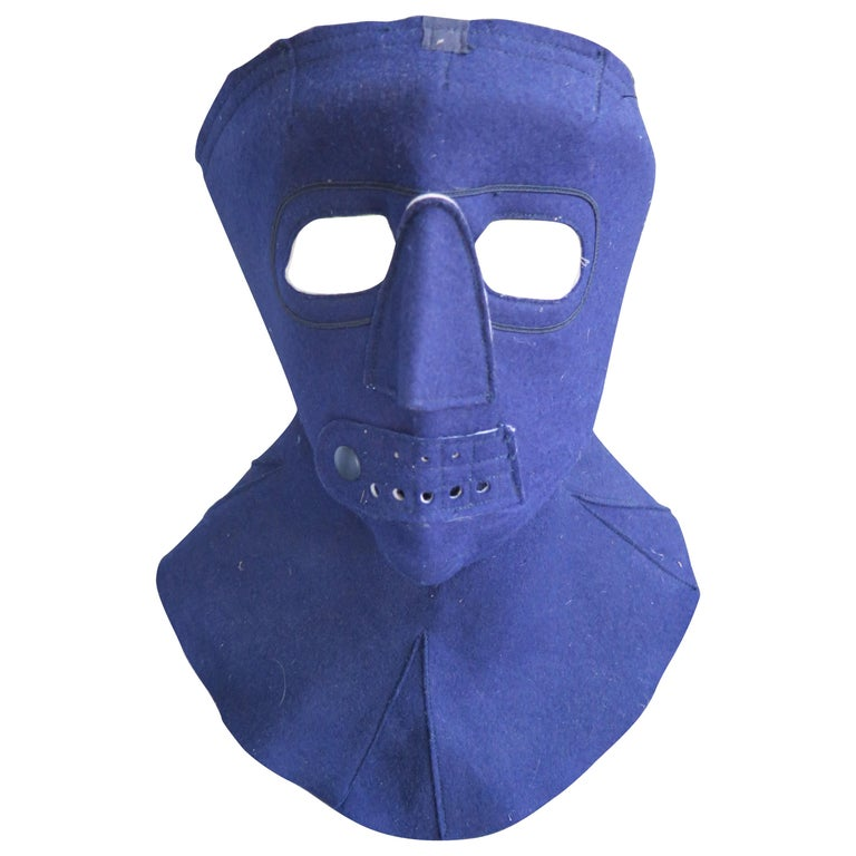Cold Weather Aviation Mask of Blue Cloth For Sale