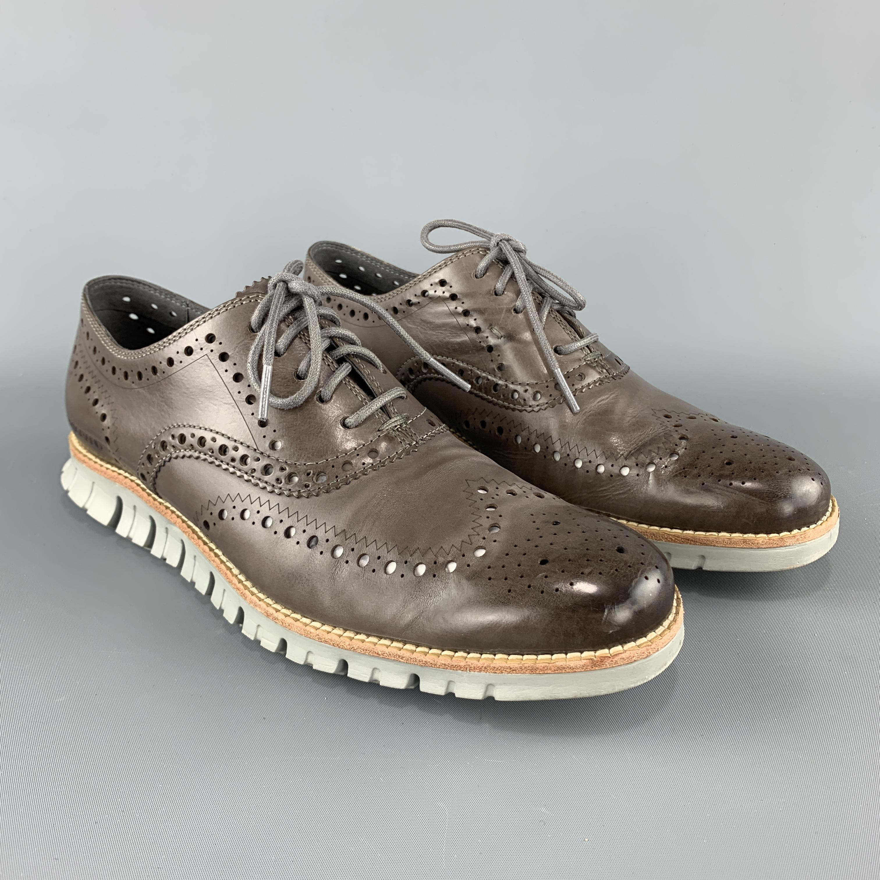 COLE HAAN 8.5 Taupe Brown Perforated