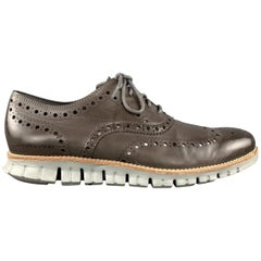 COLE HAAN 8.5 Taupe Brown Perforated Leather Athletic Sole Lace ZEROGRAND Up