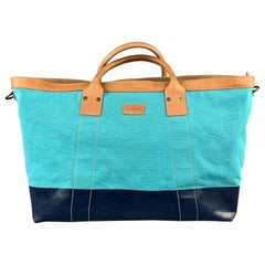 COLE HAAN Aqua & Navy Canvas Leather Two Tone Tote Bag