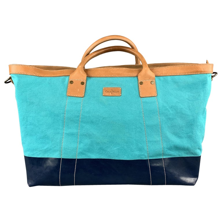77fdc48bc10 COLE HAAN Aqua and Navy Canvas Leather Two Tone Tote Bag For Sale at ...