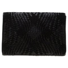 Cole Haan Black Woven Leather and Suede Clutch
