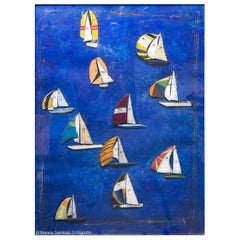 "Cole Morgan - ""Sailing boats"", Mixed-Media on Paper, 1986"