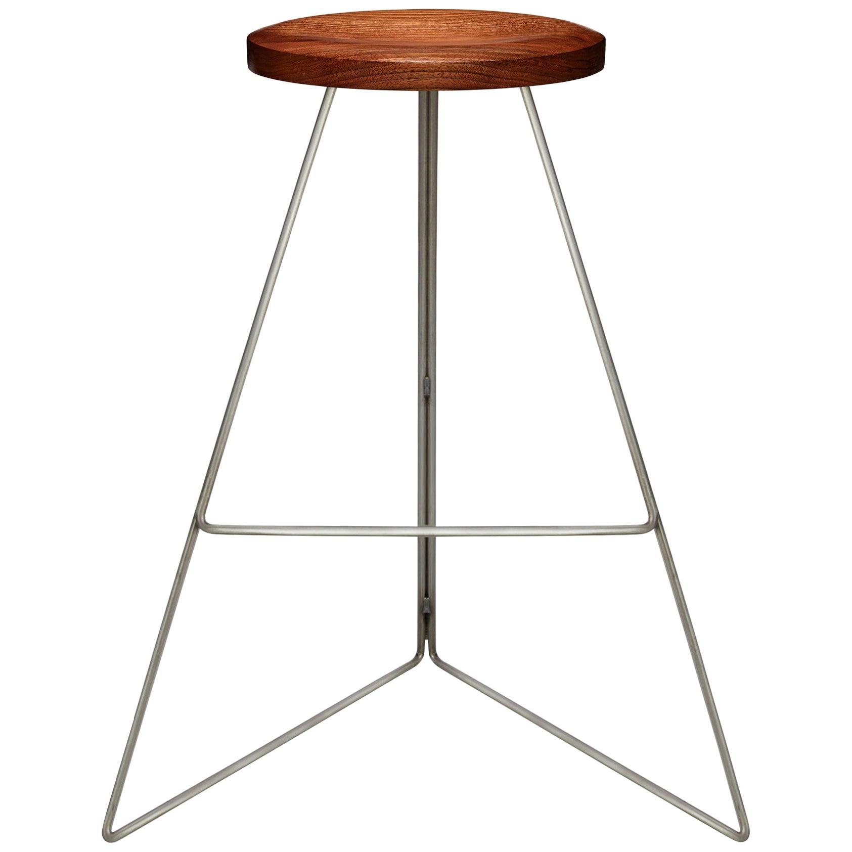 Coleman Stool, Natural Steel and Walnut, 54 Variations