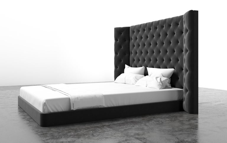 American COLETTE BED - Modern Platform with Tufted Headboard in Luxury Charcoal Velvet For Sale