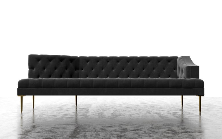 The Colette chaise features a modern tufted tightly upholstered frame with winged arm details. Fully custom and made to order in California. As shown in luxury velvet/charcoal $15,200.00. Starting at $13,700.00