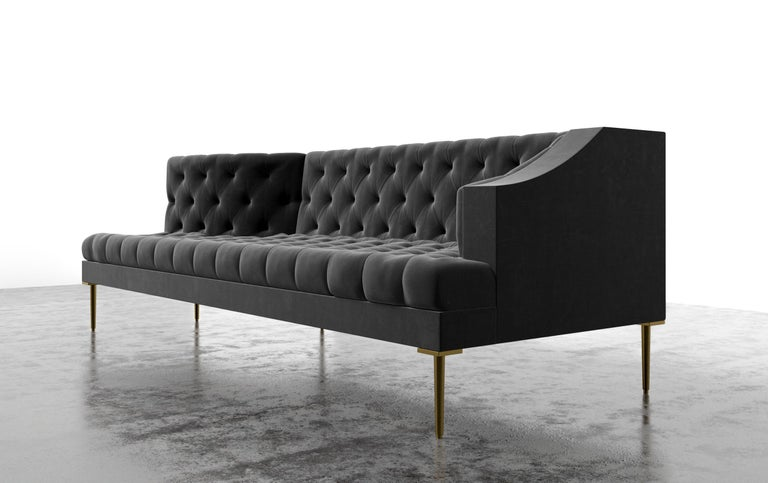 American COLETTE CHAISE - Modern Tufted Chaise in Luxury Charcoal Velvet For Sale
