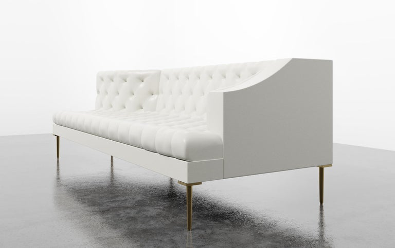 Contemporary COLETTE CHAISE - Modern Tufted Chaise in Luxury Charcoal Velvet For Sale