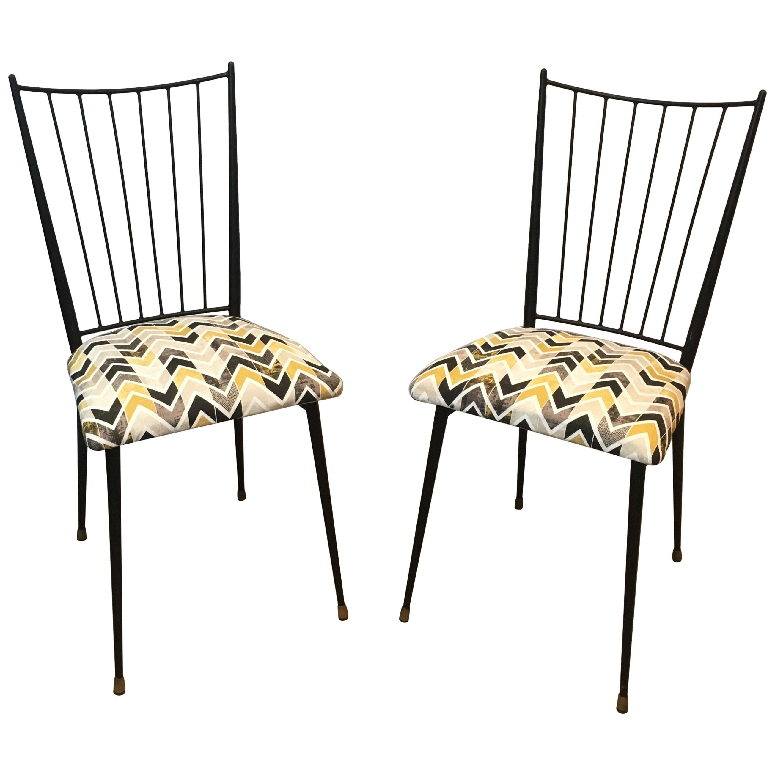 Colette Gueden, Pair of Black Lacquered Chairs, French, circa 1950