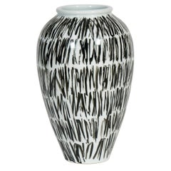 Colette Porcelain Vase in Black and White Pattern by CuratedKravet