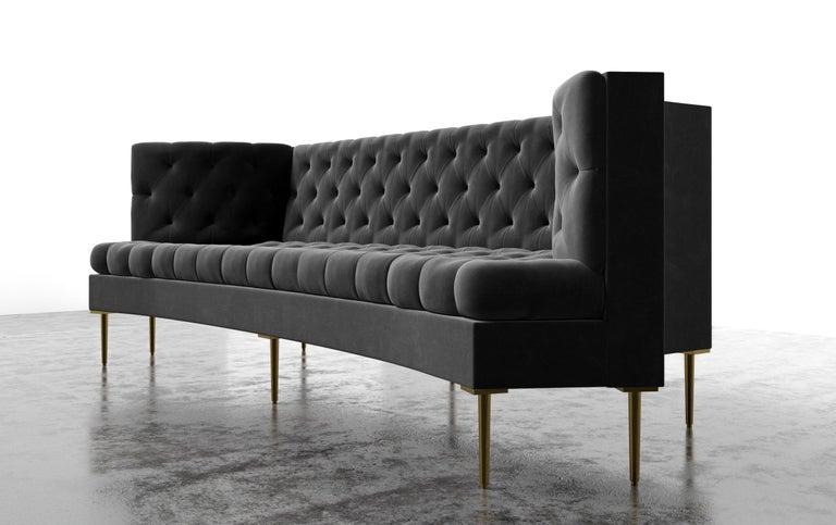 American COLETTE SOFA - Modern Tufted Sofa in Luxury Charcoal Velvet For Sale