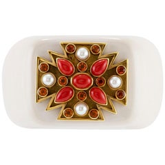 Cacholong Gold Coral Pearl and Citrine Maltese Cross Verdura Cuff